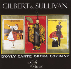 poster of three Gilbert & Sullivan operas presented by the D'Oyly Carte Opera Company